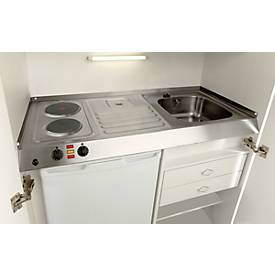 Kitchenette, portes à battant, plaque de cuisson, évier à gauche, largeur 1000 mm