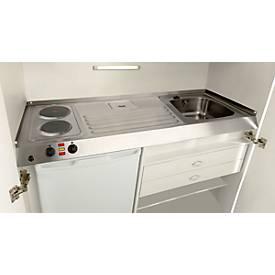 Kitchenette, portes à battant, plaque de cuisson, évier à gauche, largeur 1200 mm