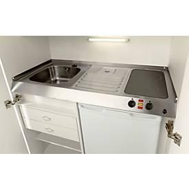 Kitchenette, portes à battant, plaque vitrocéramique, évier à droite, largeur 1000 mm