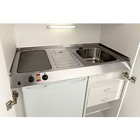 Kitchenette, portes à battant, plaque vitrocéramique, évier à droite, largeur 900 mm