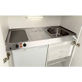 Kitchenette, portes à battant, plaque vitrocéramique, évier à gauche, largeur 1000 mm
