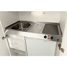 Kitchenette, portes à battant, plaque vitrocéramique, évier à gauche, largeur 900 mm
