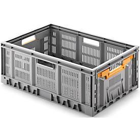 Klappbox, recycelbar & stapelbar, Traglast 20 kg,  600 x 400 x 233 mm, grau