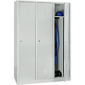 Kledingkast, 3 deuren, B 1200 x H 1800 mm, cilinderslot, lichtgrijs, lichtgrijs