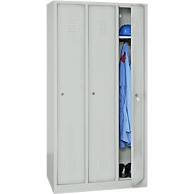 Kleiderspind, 3 Türen, B 900 x H 1800 mm, Zylinderschloss, lichtgrau