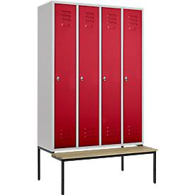Kleiderspind, 4 Abt., 300 mm, Drehriegelverschluss, m. Sitzbank, Tür rubinrot