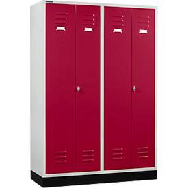 Kleiderspind, 4 Abteile mit Sockel, Drehriegel- oder Zylinderschloss