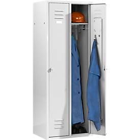 Kleiderspind mit 2 Abteilen, Drehriegelverschluss, lichtgrau/lichtgrau