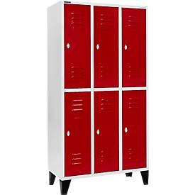 Kleiderspind, mit 3 x 2 Abteilen, 300 mm, mit Füßen, Drehriegelverschluss, Tür rubinrot