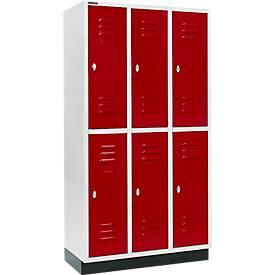 Kleiderspind, mit 3 x 2 Abteilen, 300 mm, mit Sockel, Drehriegelverschluss, Tür rubinrot