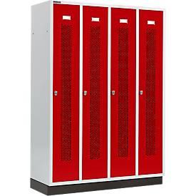 Kleiderspind mit gelochten Streifen, 4 Abteile, mit Sockel, Drehriegelverschluss, Tür rubinrot