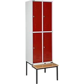 Kleiderspind, mit Sitzbank, 2x2 Abteile, 300 mm