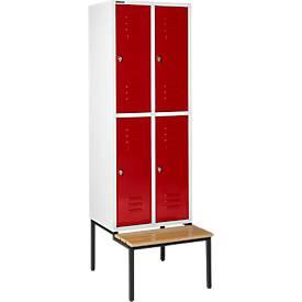 Kleiderspind, mit Sitzbank, 2x2 Abteile, 400 mm
