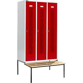 Kleiderspind, mit Sitzbank, 3 Abteile, 400 mm, abschließbar