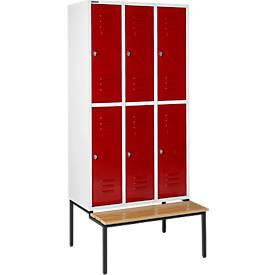 Kleiderspind, mit Sitzbank, 3x2 Abteile, 300 mm
