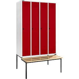 Kleiderspind mit Sitzbank, 4 Abteile, 300 mm Abteilbreite, lichtgrau/rot