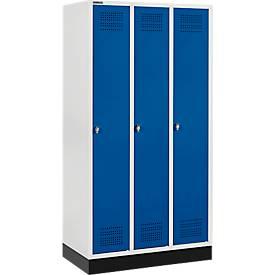 Kleiderspind mit Sockel, 3 Abteile, Sicherheitsdrehriegelverschluss, lichtgrau/enzianblau