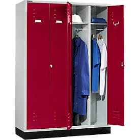 Kleiderspinde, mit 4 Türen, mit Drehriegelverschluss, lichtgrau/rubinrot
