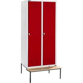 Kleiderspinde mit Sitzbank, 2 Abteile, 400 mm Abteilbreite, abschließbar