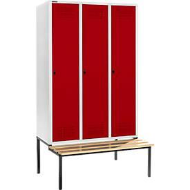 Kleiderspinde mit Sitzbank, 3 Abteile, 400 mm Abteilbreite, abschließbar
