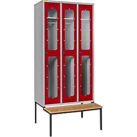 Kleiderspinde mit transparenten Türausschnitten, 3 Abteile, mit Sitzbank