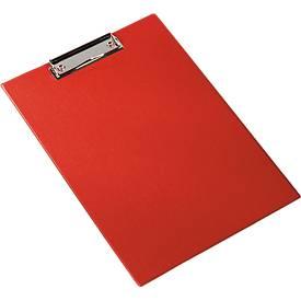 Klembord A4, kunststof, met ophangoog, rood
