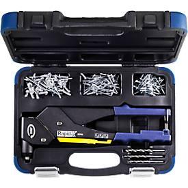 Klinktang Rapid RP60 Multi™, 360° kop, voor klinknagels met 3,2/4,0/4,8 mm, incl. meetinstrument, 3 boren, 150 klinknagels.
