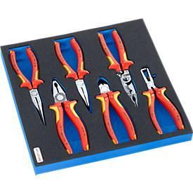 KNIPEX Elektrikerzangensatz in Hartschaumeinlage, 6-tlg., für Schrankserie DP, Maße 195 x 558 mm