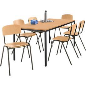 Komplett-Set Stahlrohr-Tisch mit 6 Stapelstühlen