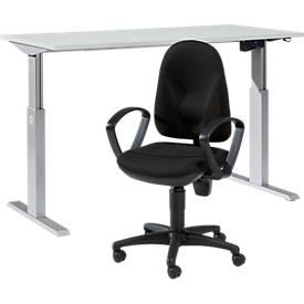 Komplettangebot 1-stufig elektr. höhenverstellbarer Schreibtisch Ergo-T, B 1600 x H 725-1185 mm, l.grau + Bürostuhl Point 300