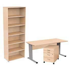 Komplettangebot BRAVO+, Schreibtisch, Rollcontainer, Regal