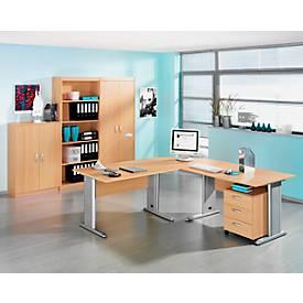 Komplettset 2 x  C-Fuß Schreibtisch, 3 Schränke, Verkettungsplatte, Container BARALONIS