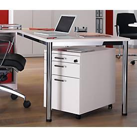 Komplettset BEXXSTAR, Schreibtisch 1600 mm breit Rollcontainer, Rundrohrfuß