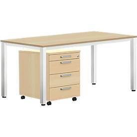 Komplettset BEXXSTAR, Schreibtisch 1600 mm breit und Rollcontainer, Quadratrohrfuß, Buche-Dekor