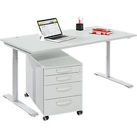 Komplettset Modena Flex, Schreibtisch B 1600 mm, höhenverstellbar + Rollcontainer