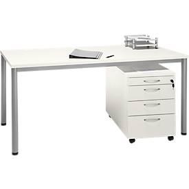 Komplettset NEVADA, Schreibtisch B 1600 mm, Rundrohrfuß + Rollcontainer 4 Schübe
