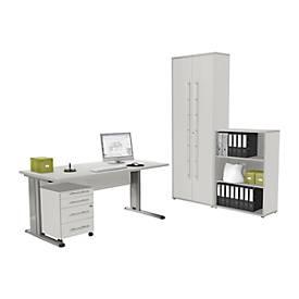 Komplettset Schreibtisch, Rollcontainer, Regal und Aktenschrank MOXXO, mit C-Fuß