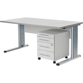 Komplettset Schreibtisch und Rollcontainer MOXXO, C-Fuß, Tisch B 1600 mm, 3 Schübe