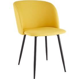 Konferenzstuhl, 2er-Set, B 570 x T 540 x H 810 mm, gepolstert, Gestell schwarz, Stoffbezug safran