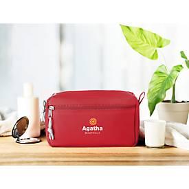 Kosmetiktasche NEW & SMART, 600D Kunststoff, 2 Reißverschlussfächer, Siebdruck 80 x 80 mm, rot
