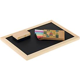 Kreidetafel, mit Schwamm und 6 farbigen Kreiden, 255 x 9 x 178 mm