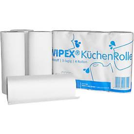 Küchenrolle WIPEX, 3-lagig, 256 x 224 mm, 8 Stück à 4 Rollen mit jeweils 50 Tüchern, hochweiß