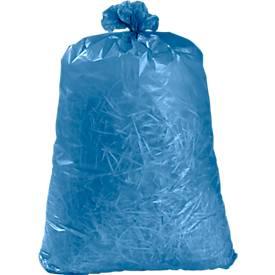 Kunststof afvalzakken, 120 liter, blauw, 100 stuks
