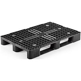 Kunststoffpalette, L 1200 x B 800 x H 145 mm, 4-seitg einfahrbar, 3 Kufen, Antirutschkante, bis 5000 kg, 5 Stück