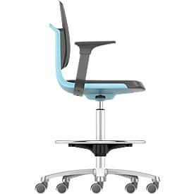 LABSIT industriële stoel hoog, kunstleder, met zit-stop-wielen, b 450 x d 420 x h 560-810 mm, blauw