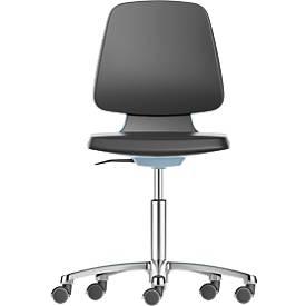 LABSIT industriële stoel, integraalschuim, met wielen, b 450 x d 420 x h 450-650 mm, blauw