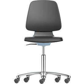 LABSIT industriële stoel, kunstleder, met wielen, b 450 x d 420 x h 450-650 mm, blauw