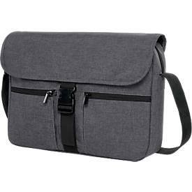 Laptoptasche FASHION, für 15 Zoll Notebooks, 300D Kunststoff, gepolstert, grau, Werbedruck 280 x 120 mm