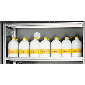 Legplank voor de kast voor gevaarlijke stoffen Asecos type 90 XL Classic, max. belasting 200 kg, plaatstaal