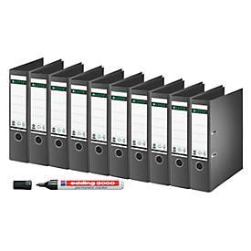 LEITZ® Ordner 1007, DIN A4, 80 mm, 10 Stück + GRATIS edding Permanentmarker 3000